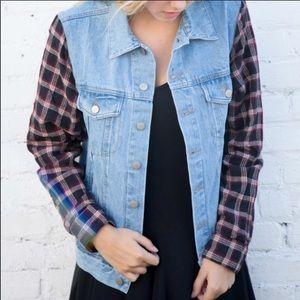 Brandy Melvillie denim flannel jacket